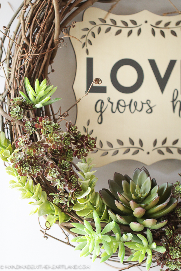 Make a spring wreath with faux succulents!