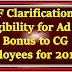 MoF Clarification on elilgibility for Ad hoc Bonus to CG Employees for 2017-18