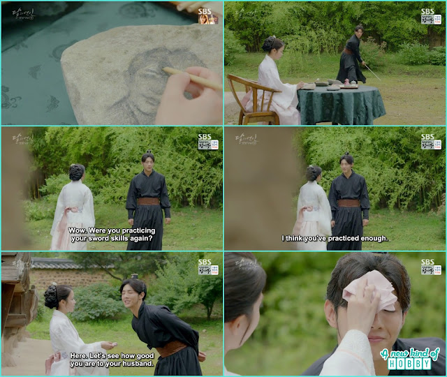 hae Soo draw picture of king wang so on the stone and saw Wang Jung while weilding the sward- Moon Lovers Scarlet Heart Ryeo - Episode 20 Finale (Eng Sub)