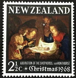 New zealand 1968 christmas 2½c adoration of the shepherds van honthorst
