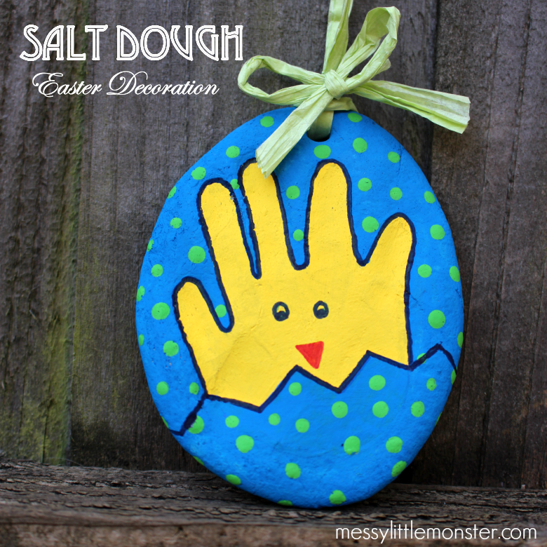 Salt dough handprint chick. Easter handprint decoration.