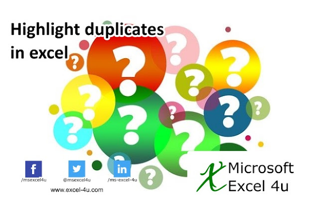 Highlight duplicates in excel