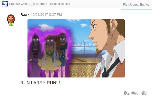 Phoenix Wright Ace Attorney Spirit of Justice Larry Butz angy Maya Athena Ema cutscene