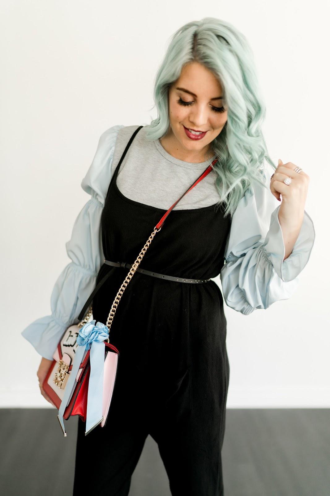 Maternity Jumpsuit, blue hair, LipSense
