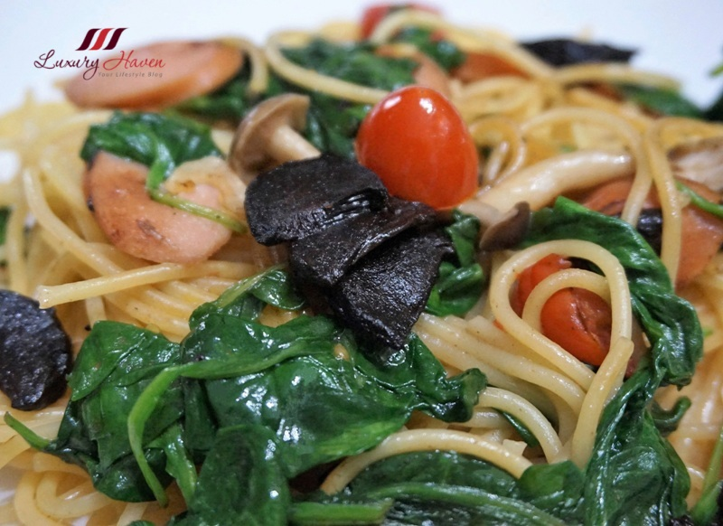 healthy black garlic spaghetti with cheese sausage recipe