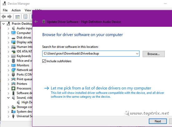Browse for device drivers