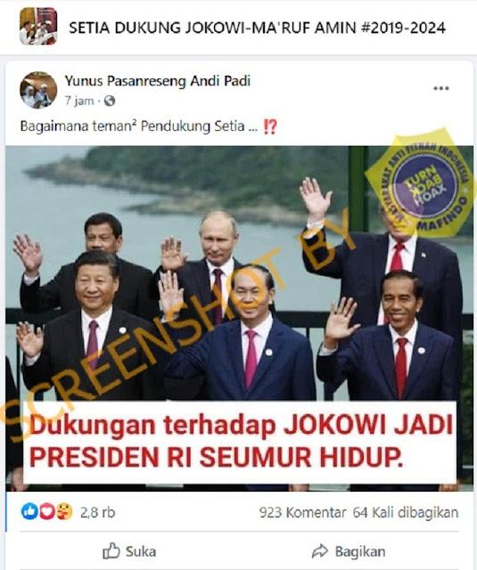 Benarkah Jokowi Didukung Pemimpin Dunia untuk Jadi Presiden RI Seumur Hidup? Ini Faktanya