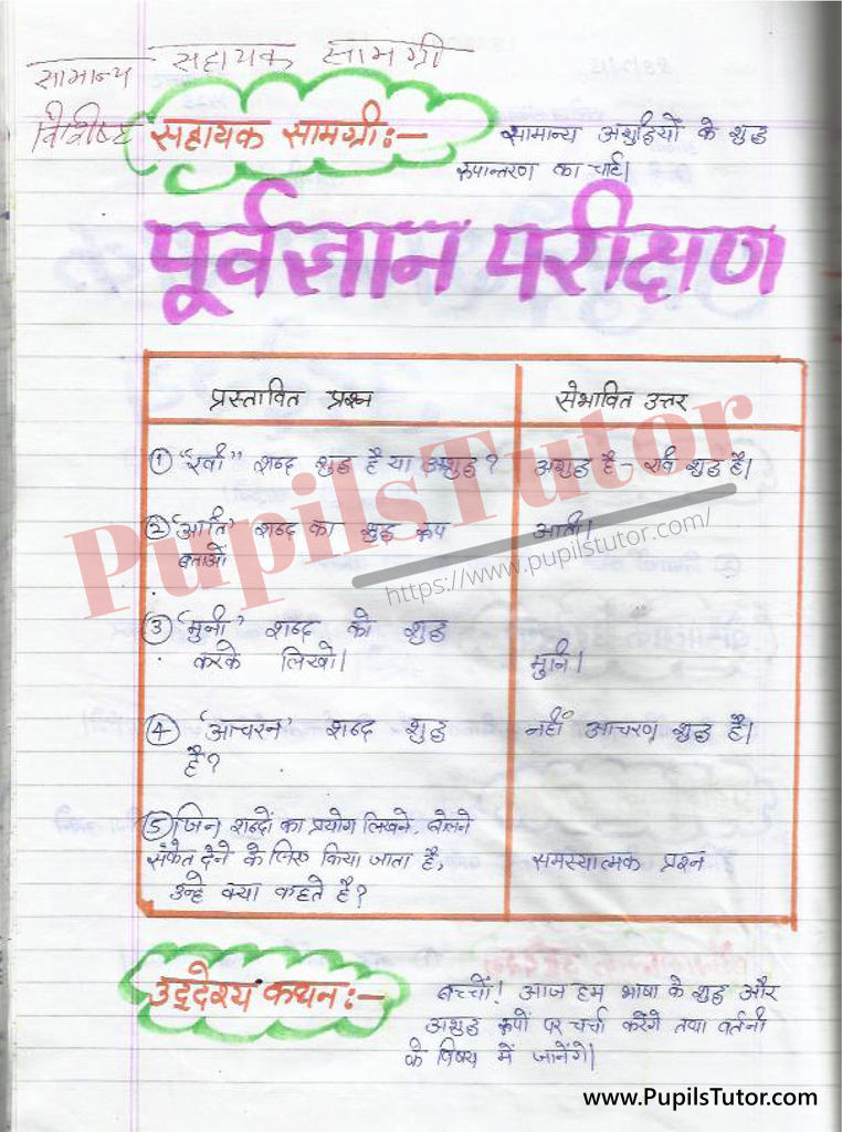 बीएड ,डी एल एड 1st year 2nd year / Semester के विद्यार्थियों के लिए हिंदी की पाठ योजना कक्षा 4,5,6 , 7 , 8, 9, 10 , 11 , 12   के लिए  वर्तनी टॉपिक पर