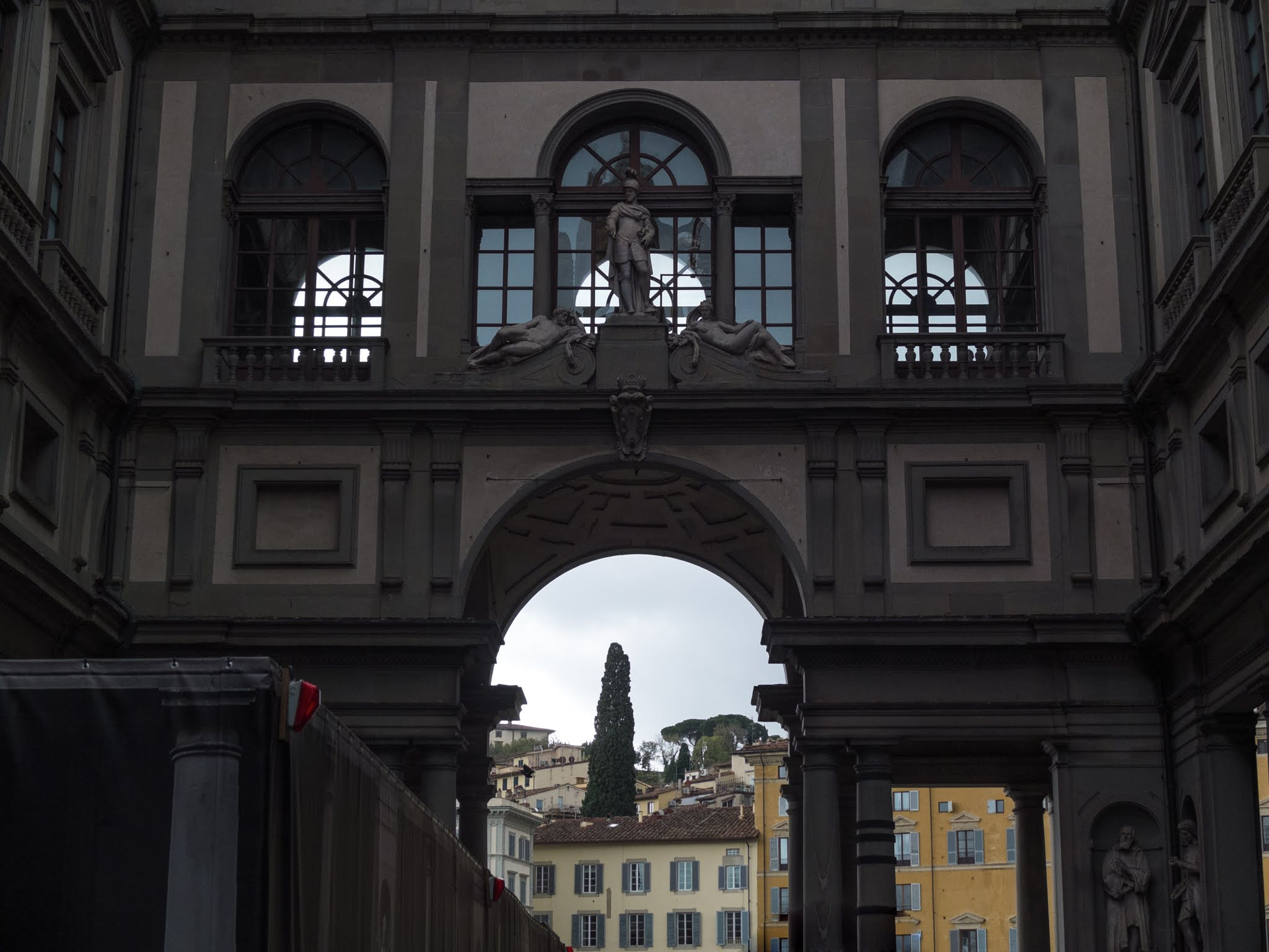 Views from the inside of the Uffizi Gallery in Florence.