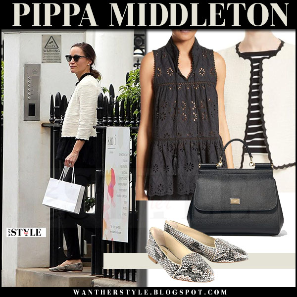 Pippa Middleton in cream tweed jacket kate spade, black jeans and snake skin shoes jemima vine what she wore may 15 2017