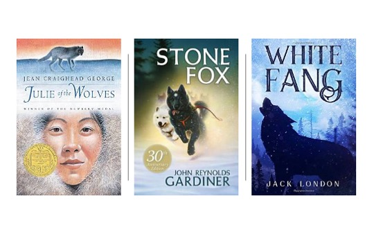 Image of Julie of the Wolves, White Fang, and Stone Fox in Pin image for 15 Winter Themed Novels for Upper Elementary
