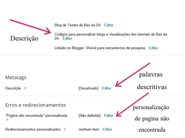 Exemplo de configuração do  blog