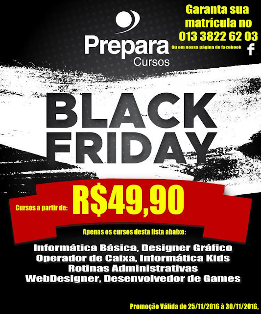 Black Friday na Prepara Cursos em Registro-SP