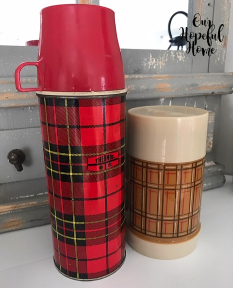 red plaid thermos butterscotch Aladdin best buy thermos