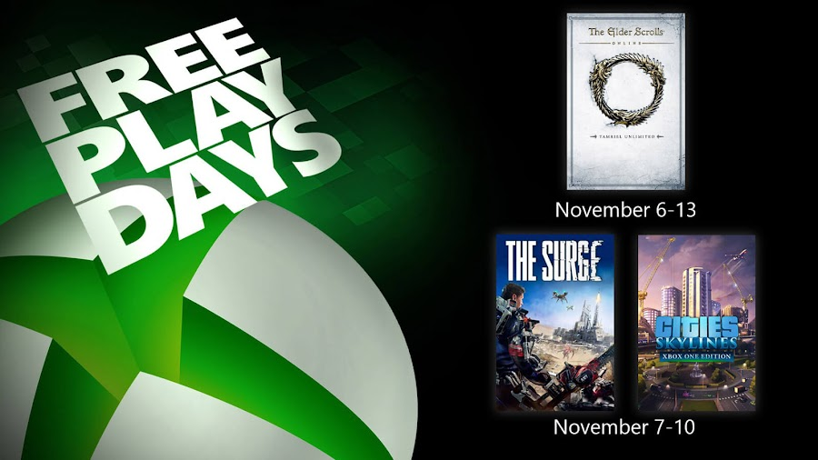 cities skylines elder scrolls online tamriel unlimited the surge xbox live gold free play days event