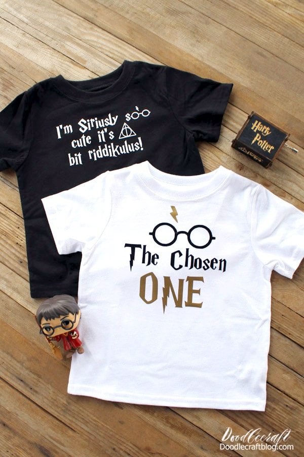 How to make Harry Potter shirts using the Cricut and iron-on vinyl. Great for customizing shirts, mugs, bags, totes and all kinds of other unique items. Great for gifts!