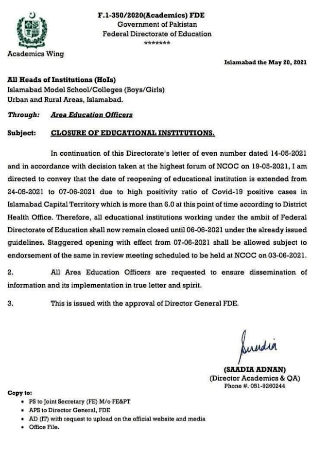CLOSURE OF EDUCATION INSTITUTIONS UNDER FEDERAL GOVERNMENT