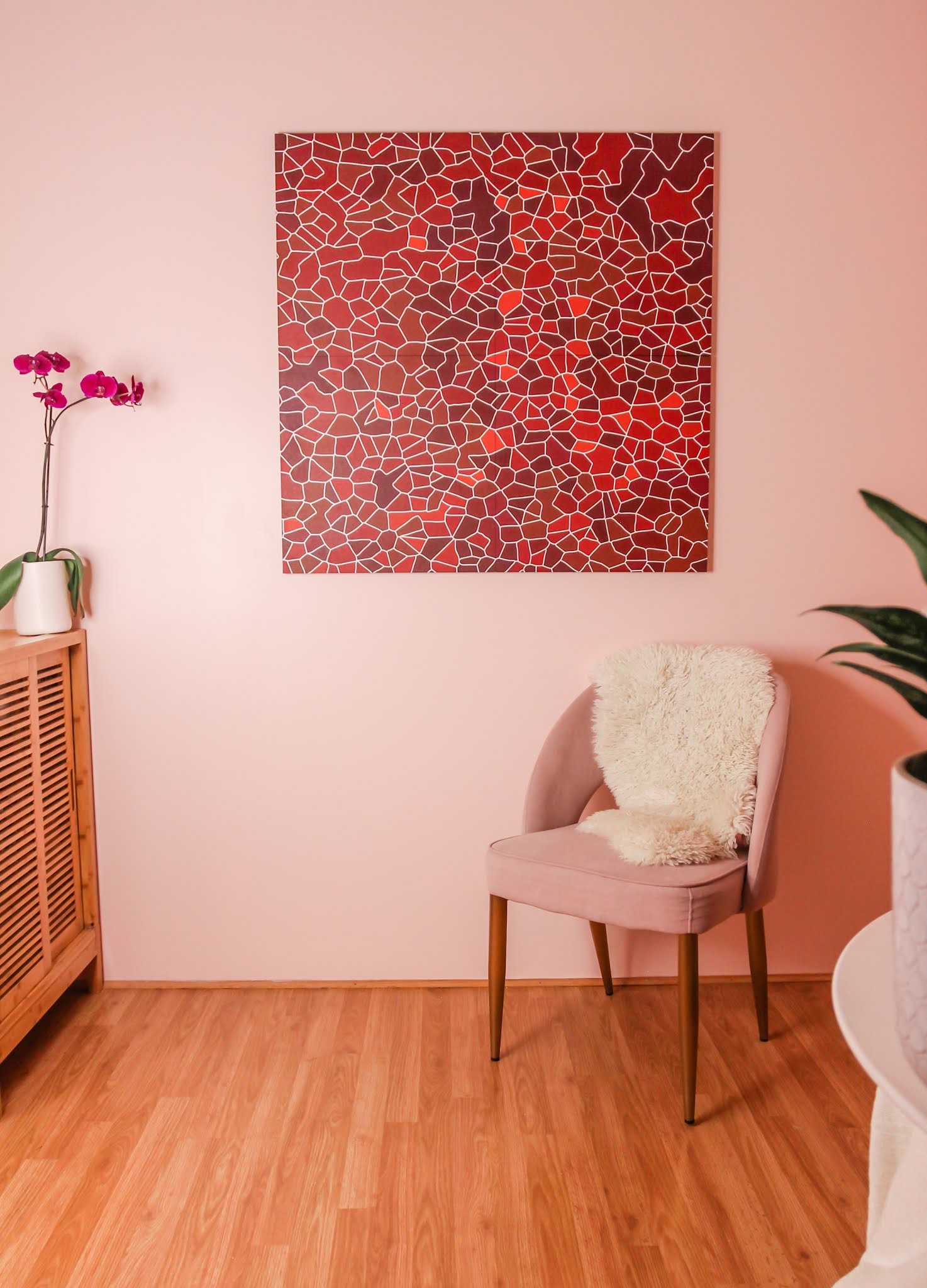 pink and orange decor // spacekit // spacekit decor // sustainable wall art // sustainable home decor // pink and orange room // colorful homes // pink walls // unique wall art // eco friendly wall art // modular wall art // pink room // orange room // orange couch // pink walls // NYC homes // home decor Inspo // office decor inspo // living room inspo // colorful home inspo