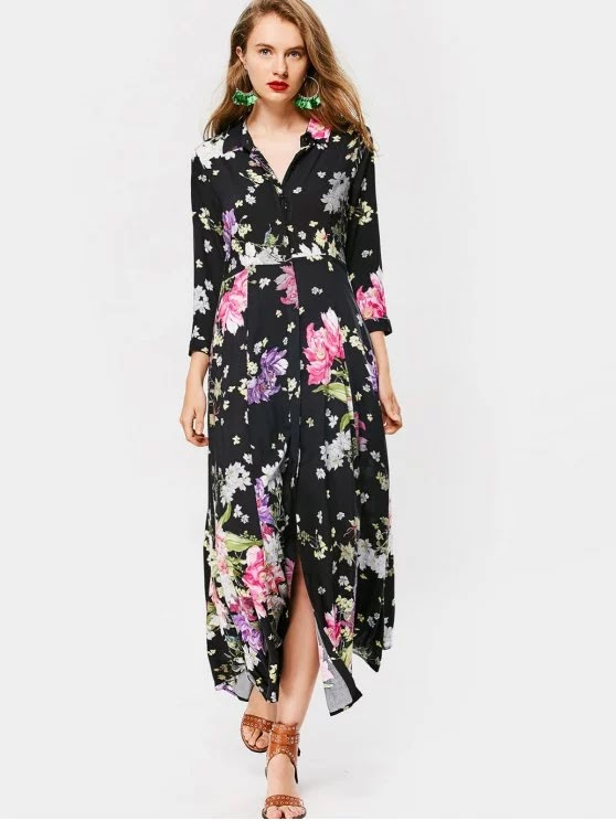 Button Up Long Sleeve Floral Maxi Dress
