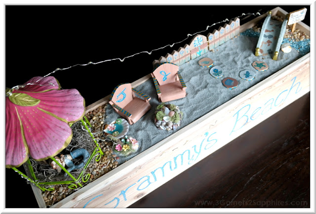 How to Make Your Very Own Personalized Window Box Beach Fairy Garden  |  3 Garnets & 2 Sapphires