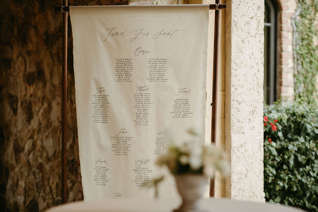 linen seating chart sign