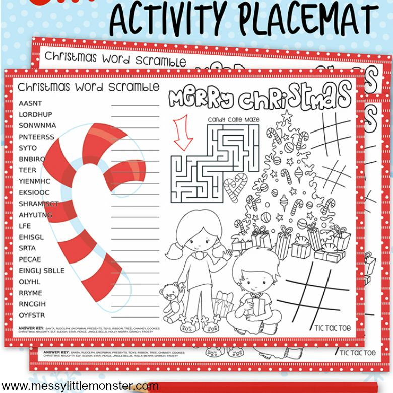 Christmas activity placemats for kids