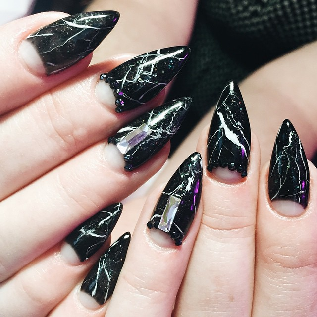 Diy Easy To Do Black Marble Stone Nail Art
