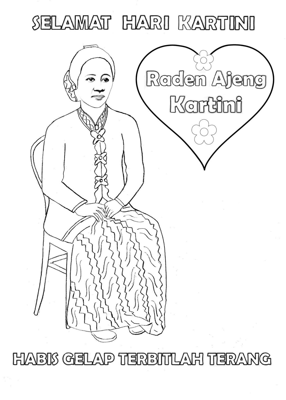 1 Gambar Mewarnai Selamat Hari Kartini Colouring Kartini Day