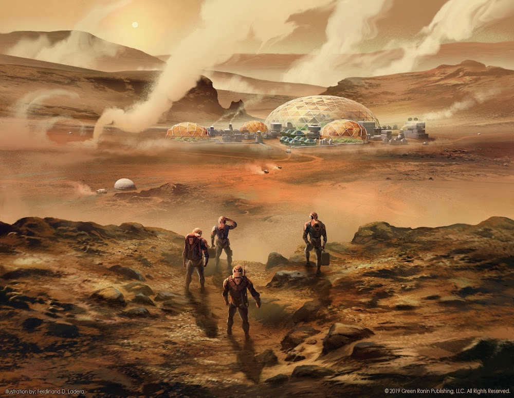 Astronauts returning to Mars colony by Ferdinand Ladera - illustration for The Expanse RPG