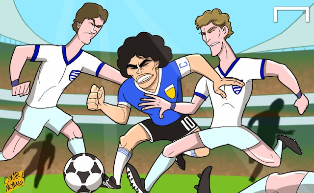 Maradona cartoon caricature illustration