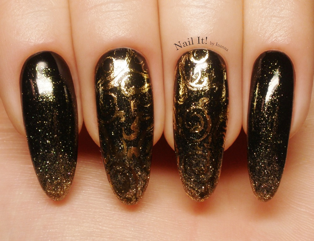 Dark Green Glitter Ombre Nail Art with Gold Foil Stamping