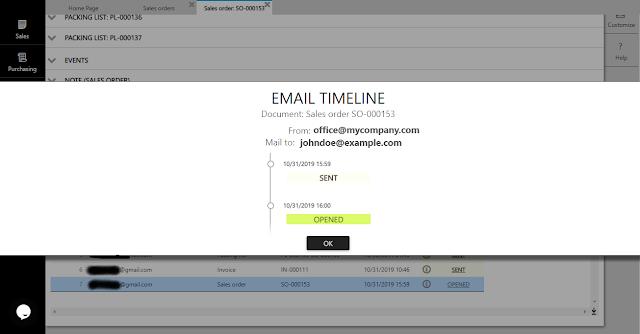 email timeline in ERPAG
