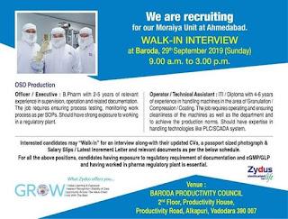 Zydus Cadila Walk in Interview, Vacancies in Pharma Companies in Ahmedabad, Cadila Healthcare Limited OSD, Vacancies in Pharma Companies For Freshers, Tablet, Oral Solid, Capsule, Diploma, Production, Manufacturing, B.Pharm, ITI