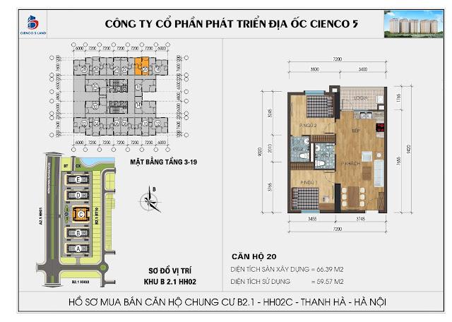 Mặt bằng căn hộ số 20 HH02C khu B2.1 Thanh Hà Mường Thanh