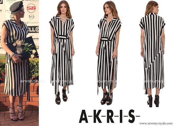 Princess Charlene wore AKRIS Silk Crepe Striped Dress