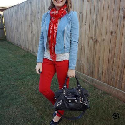 awayfromblue Instagram | double denim SAHM style space dye tee red skinny jeans skull scarf balenciaga part time ba