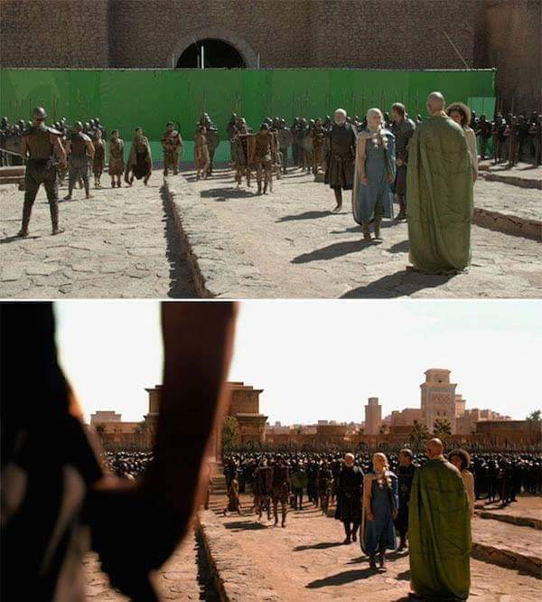 Images in Movies;  Before and after Virtual Effect.