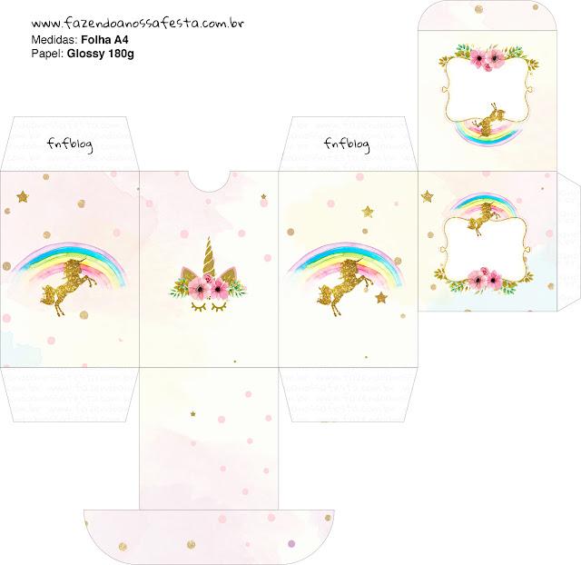 Cajas  para imprimir gratis de Fiesta de Unicornios.