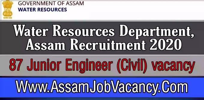 Water Resources Department, Assam Recruitment 2020 - Apply for Junior Engineer Post