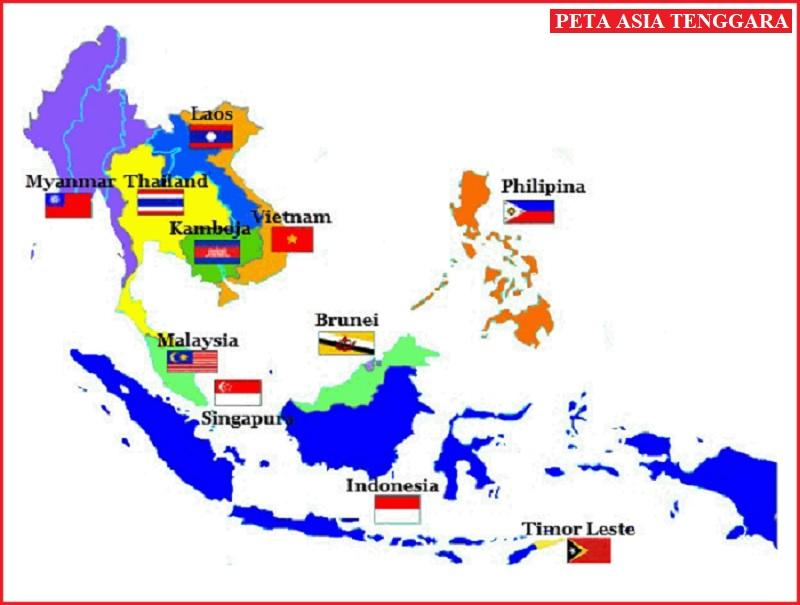Peta Asia Tenggara Lengkap dan Nama Negaranya