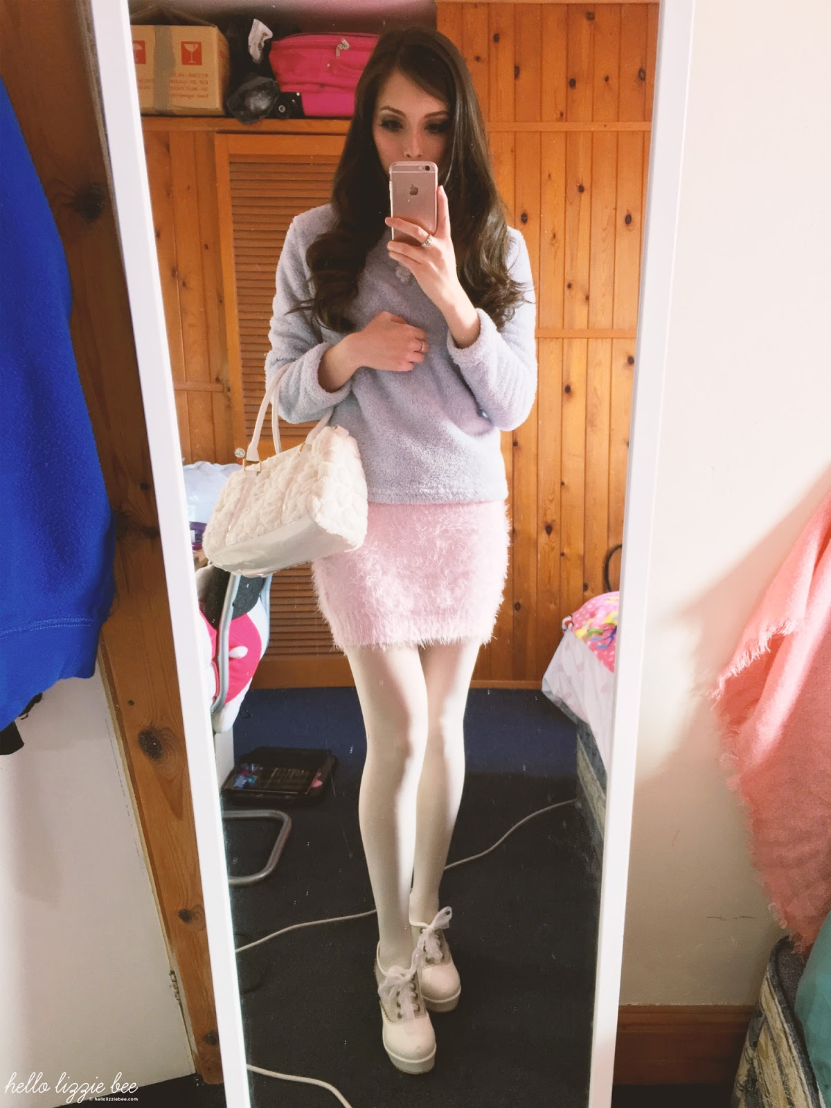 pastel winter outfit, unicorn