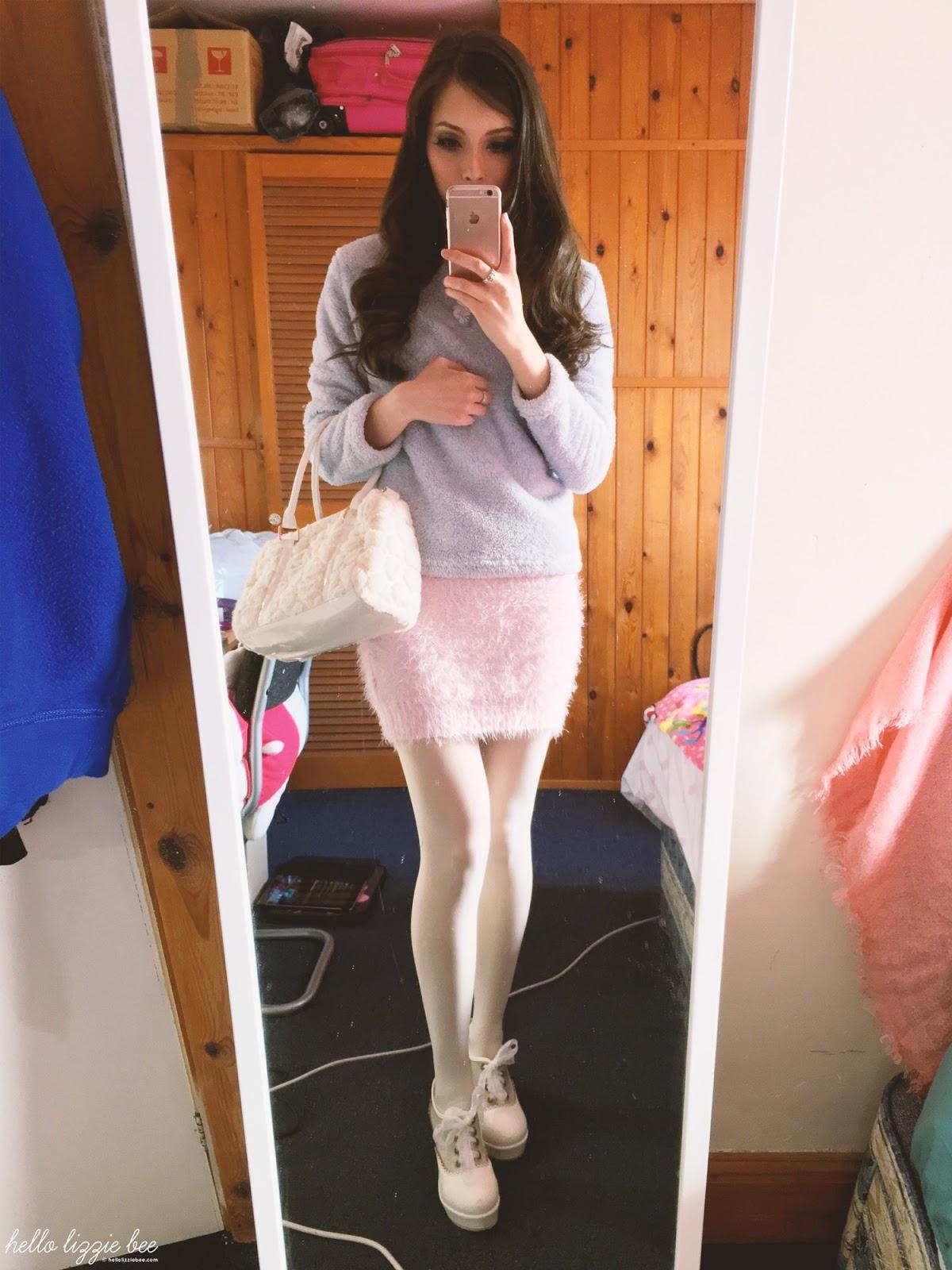 pastel winter outfit, unicorn