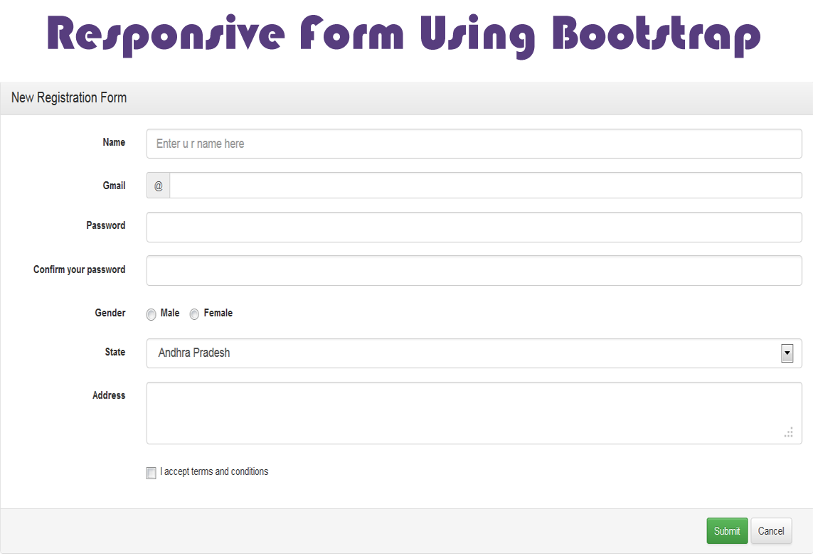 Bootstrap responsive form studywithdemo for Jquery registration form template