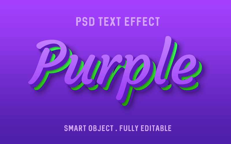 Purple And Green Text Effect PSD Mockup