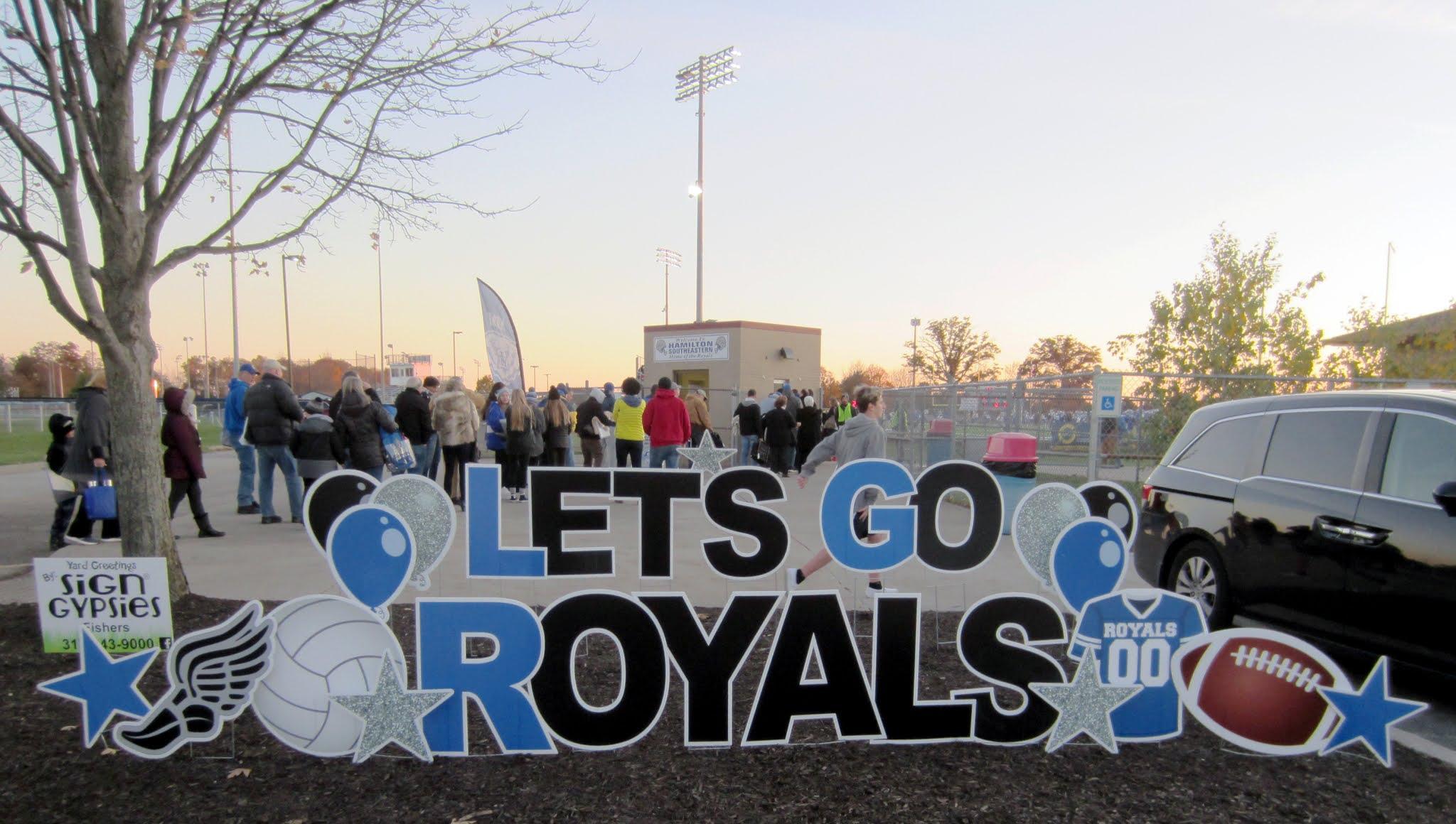 Sign outside Hamilton Southeastern High School's Royals Stadium