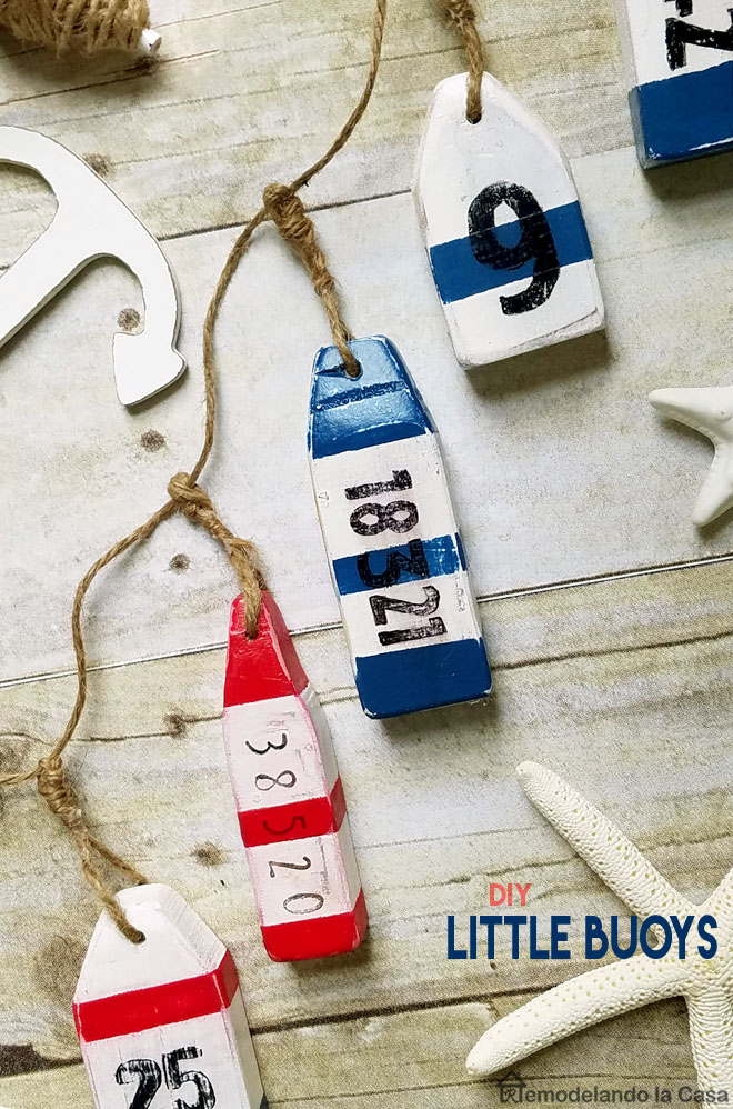 little buoys made out of scrap pieces of wood