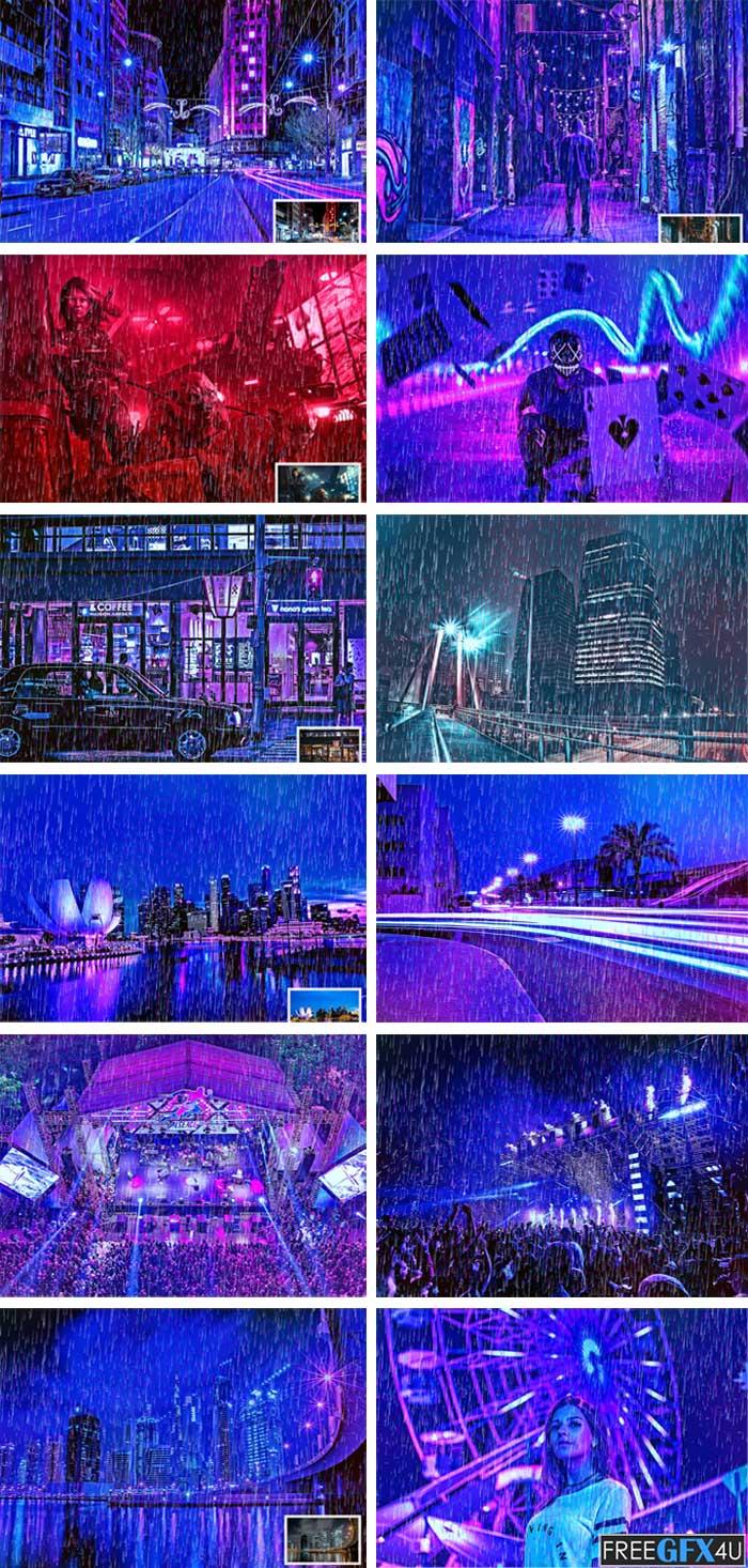 Rain Cyberpunk Photoshop Action
