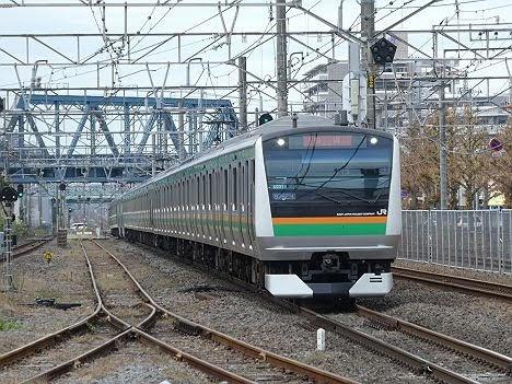 東海道線 快速アクティー 横浜行き3 E233系(2018.11川崎駅ホーム拡張工事に伴う運行)