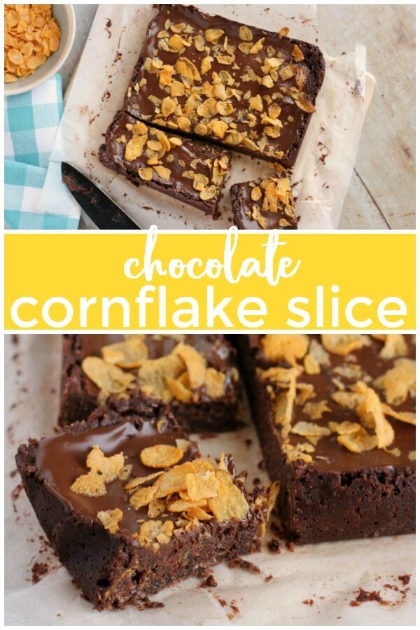 Chocolate Cornflake Slice  #bar #chocolate #baking #cornflakes #easybake