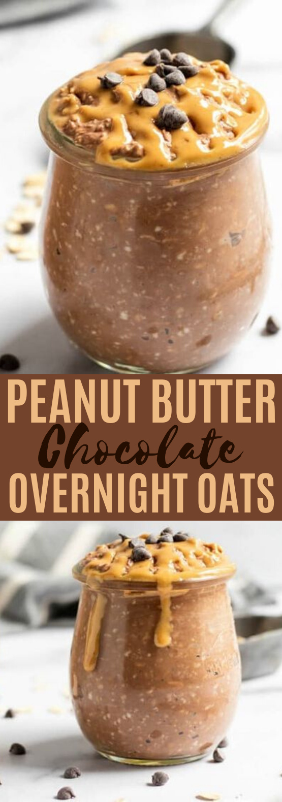 Chocolate Peanut Butter Overnight Oats #healthy #breakfast #easy #keto #peanutbutter
